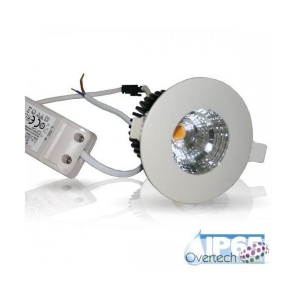 Spot led downlights cob etanche ip65 blanc chaud achat for Spot led etanche salle de bain