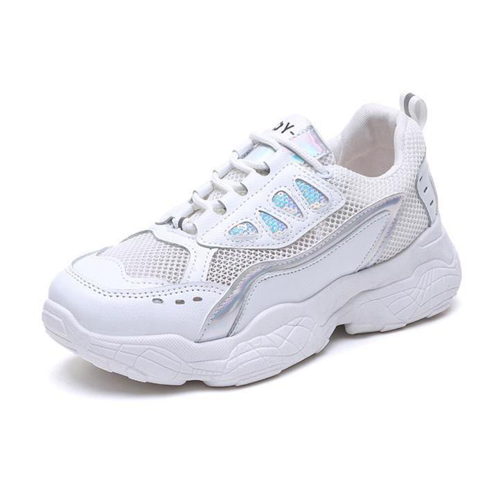 Femmes Femmes Dentelle solide jusqu'à bout rond Casual Mocassins Sneaker Chaussures blanches argent
