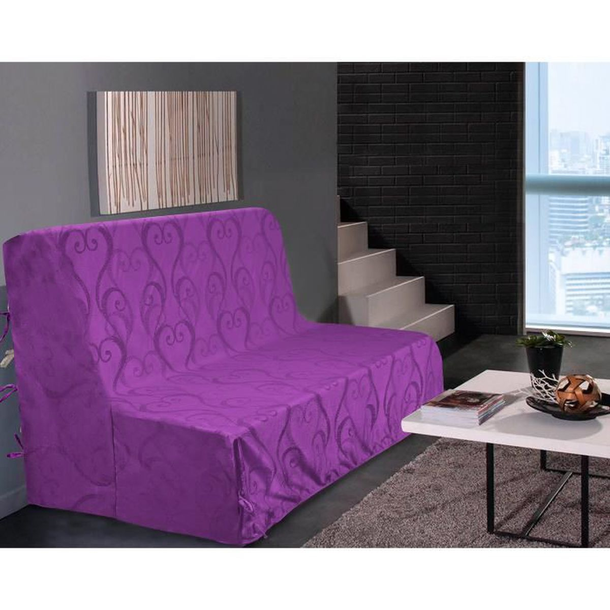 housse clic clac violet achat vente housse clic clac violet pas cher cdiscount. Black Bedroom Furniture Sets. Home Design Ideas