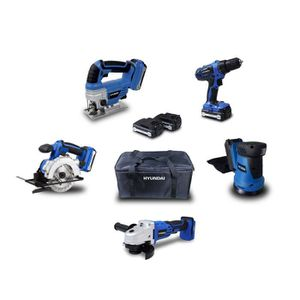 PACK DE MACHINES OUTIL HYUNDAI Pack 5 outils 18V 2 Batteries 1,5Ah et 4Ah