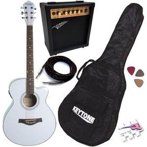 PACK INSTRUMENTS CORDES Pack Guitare Électro-Acoustique Jumbo Blanche 5 Ac