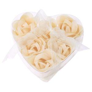 SAVON - SYNDETS 6 x Savon de bain en forme de rose Beige + Boite e