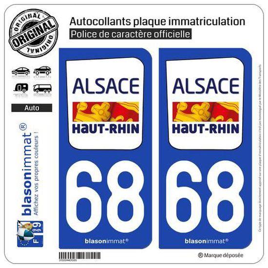 Angles 68 Haut Rhin logo 2 noir autocollant plaque immatriculation auto ville sticker Lot de 4 Stickers arrondis