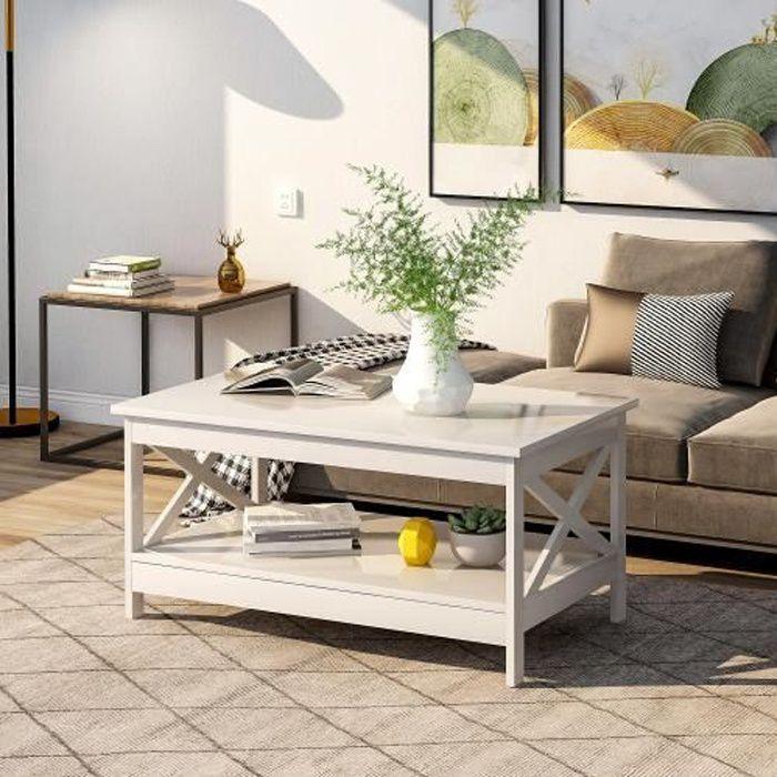 Table basse Salon Moderne X Design en bois avec étagère de rangement 100 cm x 60 cm x 47 cm --BLANC