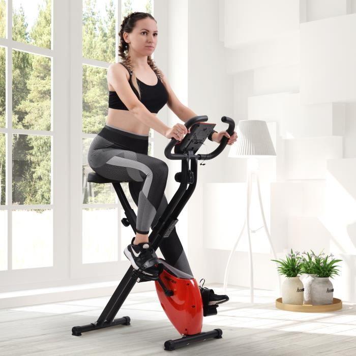 Vélo d'appartement pliable avec ordinateur d'entraînement & pulsomètre, 8 niveaux de resistance - Rouge