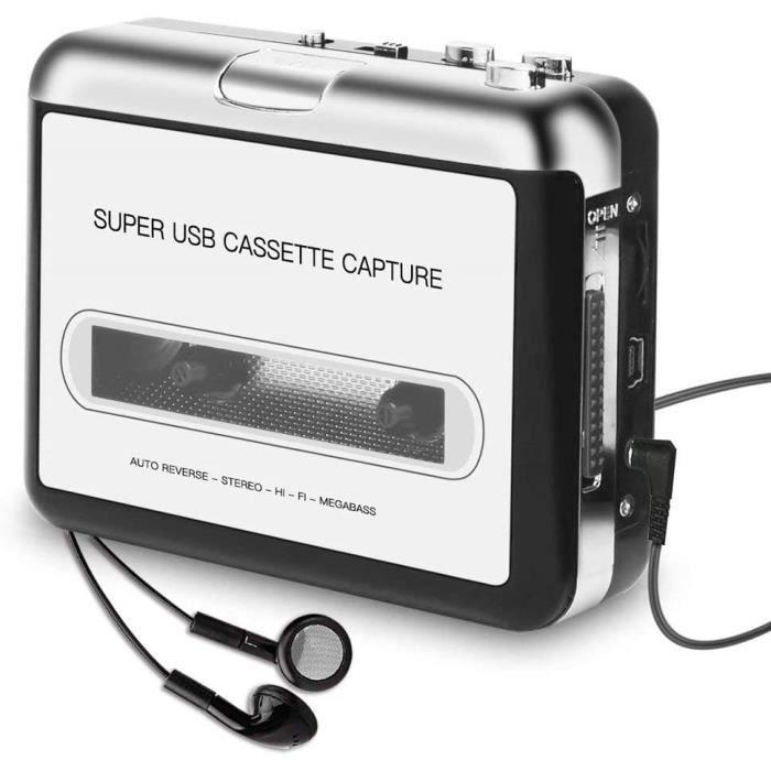 Lecteur Cassette portable Walkman enregistreur de cassettes pour CD MP3 USB compatible avec ordinateurs PC avec casque
