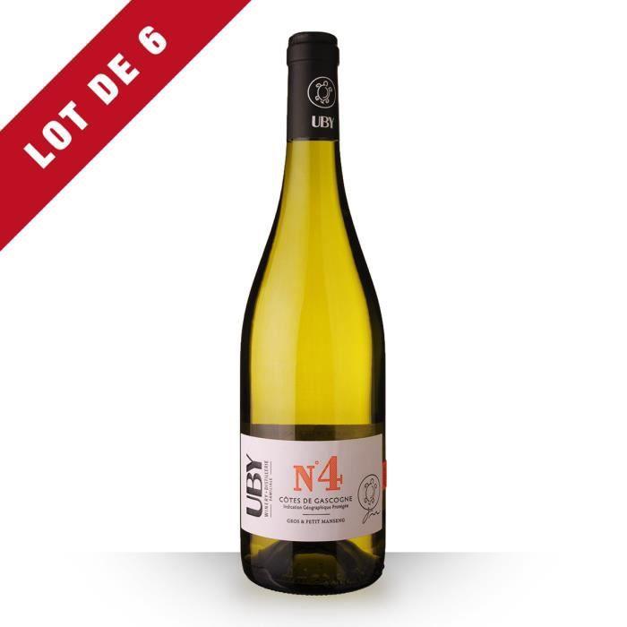 6X Uby N°4 Gros et Petit Manseng Blanc 75cl IGP Côtes de Gascogne - Vin Blanc