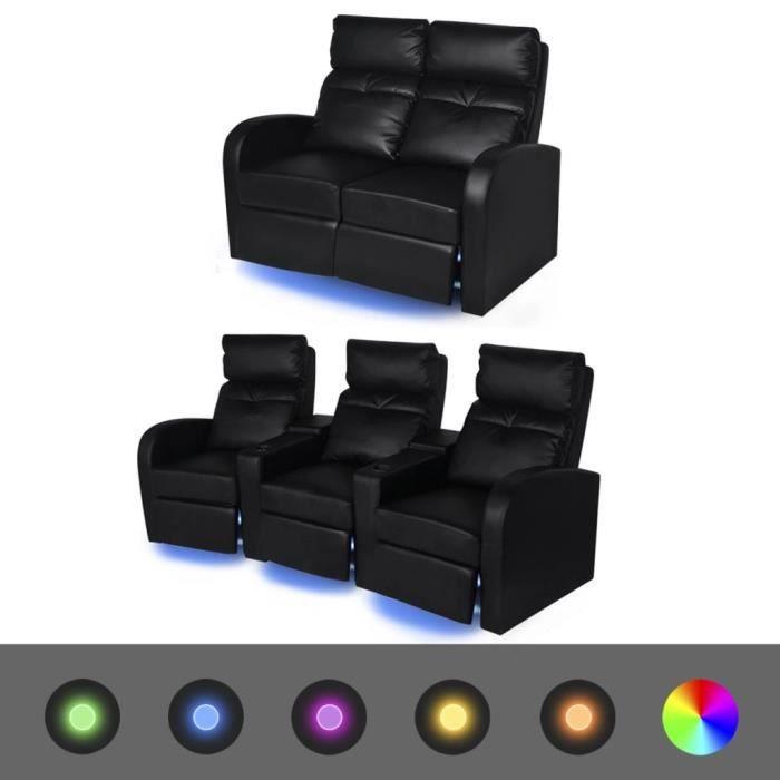 ��3739Luxueux Canapé Relax Sofa - Fauteuil inclinable à LED 2+3 places Canapé pour Fauteuil Relax salon séjour Cuir Artificiel Noir