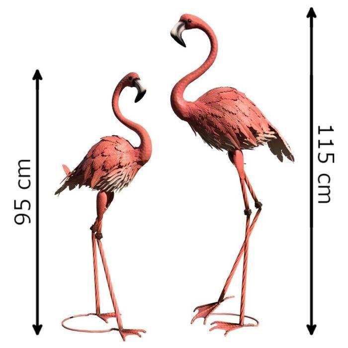 Animaux Flamant Rose Oiseaux Décoration Déco Jardin Fer Héron Ibis Grue - Set2-14732-Flamant-Bis