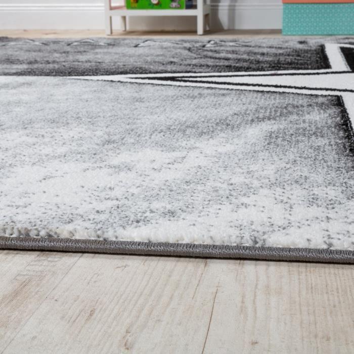 Tapis Chambre D'Enfant Étoile Design Tapis De Jeu Tapis Pour Enfants Poils Ras Gris [120x170 cm]