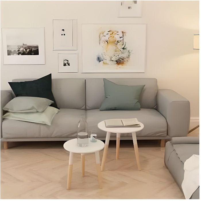 Lot de 2 Tables Basses Gigognes en bois de pin massi - 48 x 47,5 cm et 38 x 40 cm - Blanc