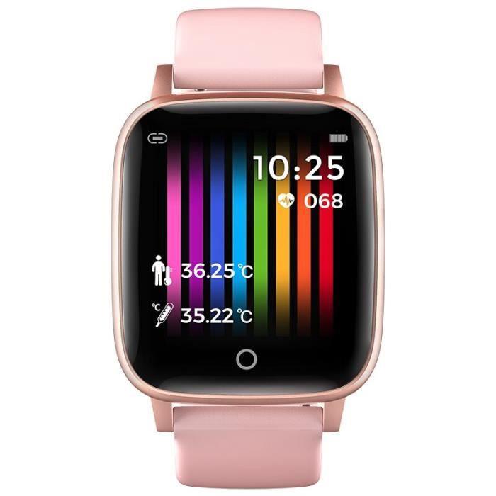 KARUNO-montre connectée de sport pour hommes femmes - Horloge mesure de la température du corps, moniteur de fréquenc - Pink -
