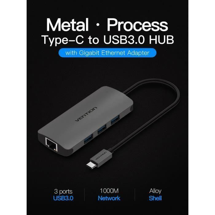 Adaptateur Ethernet USB C Hub USB 3 Convertisseur de ports C 3.0 Adaptateur LAN USB à RJ45 pour commutateur Ethernet USB Macbook