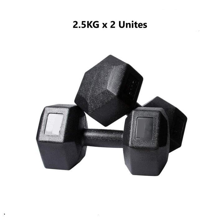 2 Haltères Hexagonale 2.5KG Paire d'haltères Dumbbell Musculation Fitness