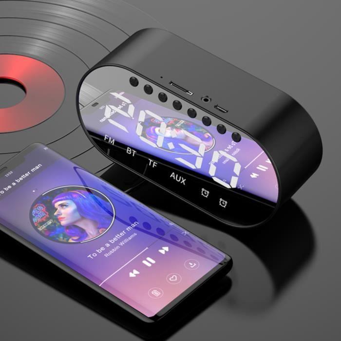 Haut-parleur et réveil multifonction Bluetooth Bureau audio FM Radio Noir, Réveil Radio FM Subwoofer portable Horloge numérique