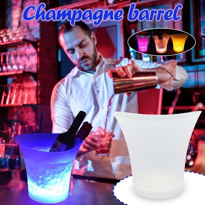 Seau à glace lumineux de bière de seau à glace de champagne 5L LED seau à glace en plastique rond R1714