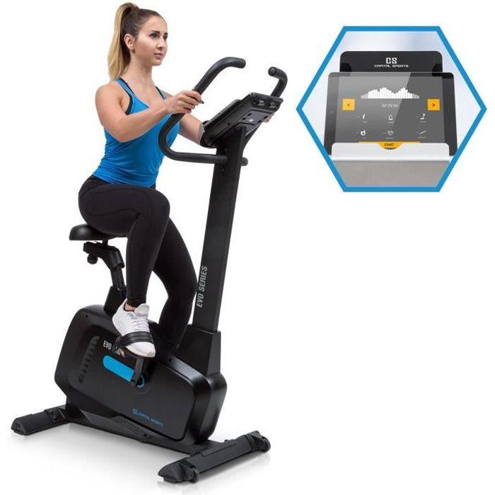 CAPITAL SPORTS Evo Pro Vélo elliptique silencieux avec écran - Inertie 20kg - 12 programmes - Résistance magnétique - Noir