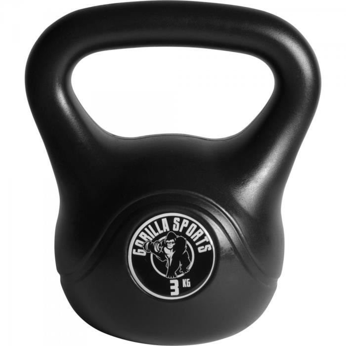 Gorilla Sports - Poids Kettlebell plastique 2kg à 20kg - 3 KG Noir