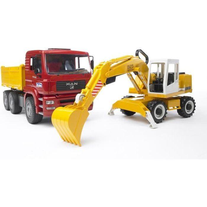 BRUDER - 144565 - Camion Benne + Pelleteuse MAN - 41,5 cm