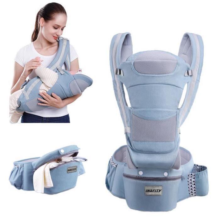 0-48 Mois Porte-bébé Multifonctionnel Ventral et Dorsal Voyage Facile Pour Les Bébés Doux Sécurité Pratique - Bleu Ciel
