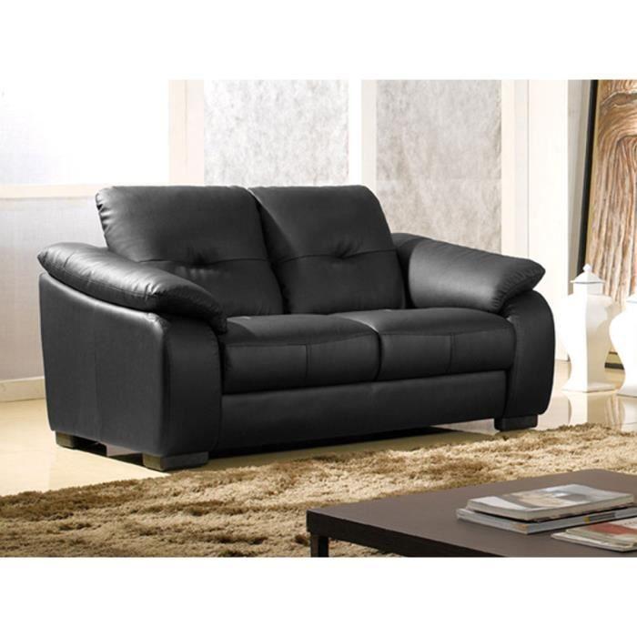 Canapé 2 places en cuir noir LILA