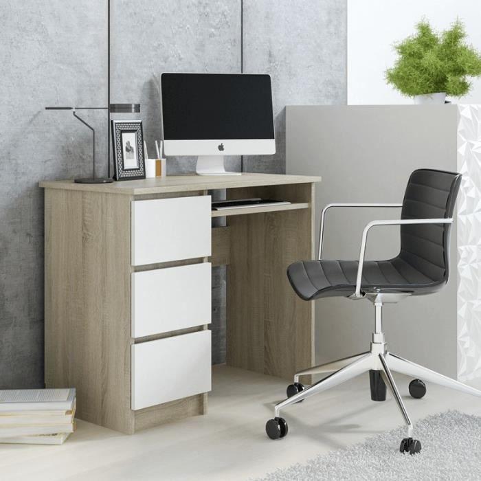 tendencio CINO - Bureau avec 3 tiroirs 90 cm Couleur Bois et Blanc Style scandinave. Petit Bureau Compact