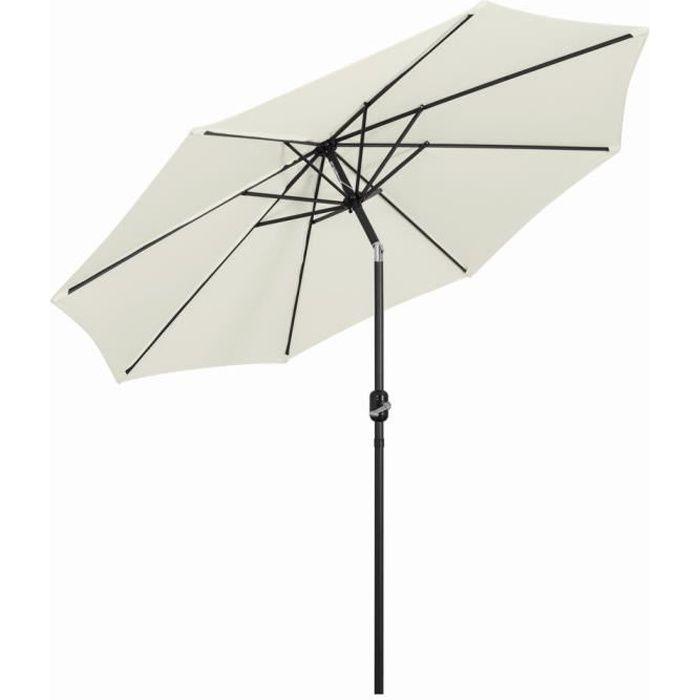 Parasol Droit 3m Inclinable, avec Manivelle, Pliable Portable, Protection Solaire pour Terrace, Piscine, Plage, beige- Mondeer