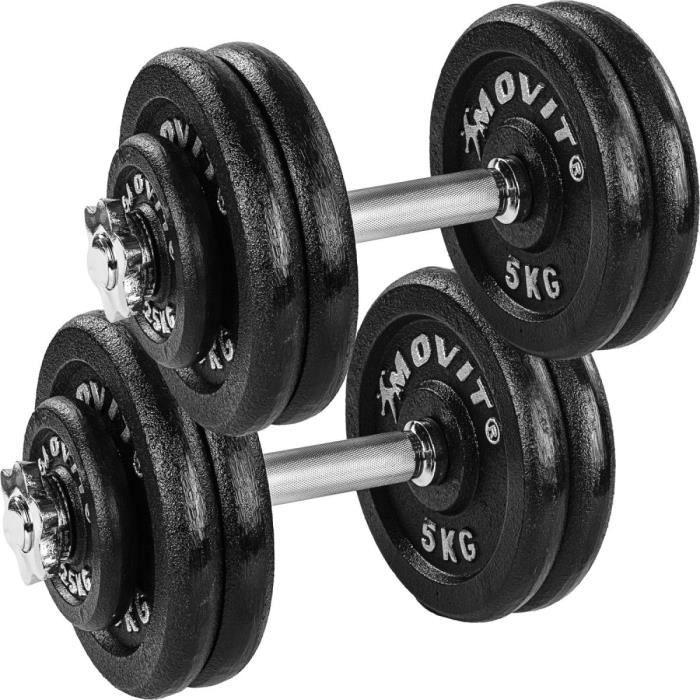 MOVIT 2x Haltères courts de 25 kg en fonte (poids 8x5kg et 4 x 1,25kg)