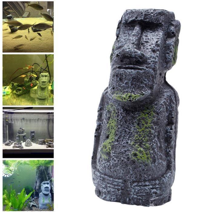 TEMPSA Résine statue de l'île Pâques Pour Décoration Aquarium S