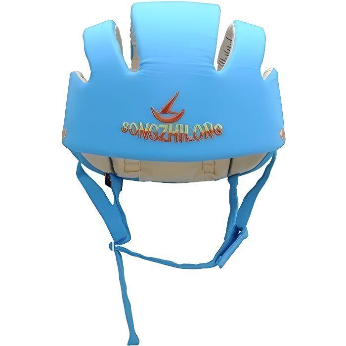 Casque Sécurité Bébé Domestique en Coton Douce Réglable Antichoc Casque Bébé Antichute Confortable Protection Tête 238G-Bleu