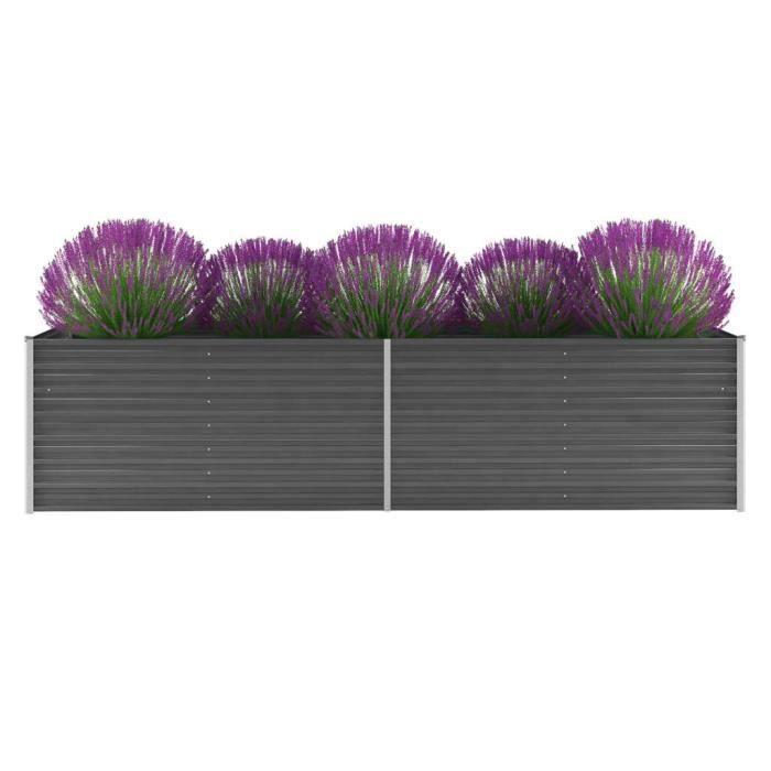 Economique Haute qualité Jardinière Acier galvanisé 320 x 80 x 77 cm Gris