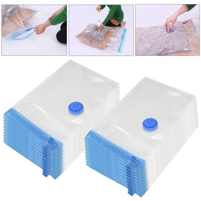 10 pièces sacs de rangement Compression imperméable réutilisable sous vide literie pliable vêtements couettes ASPIRATEUR TRAINEAU