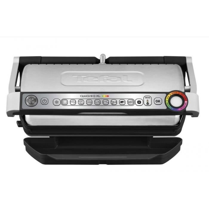 TEFAL XL GC722D-Optigrill XL Inox/Noir 2000 W Une utilisation simple et intuitive-Inclinaison des plaques de 7° facilite la récupé