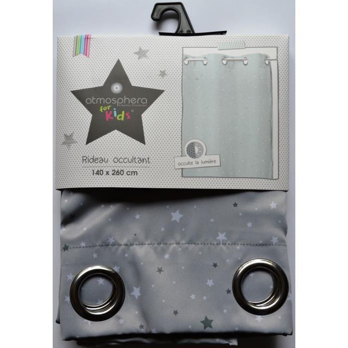 Rideau occultant gris étoilé pour chambre enfant