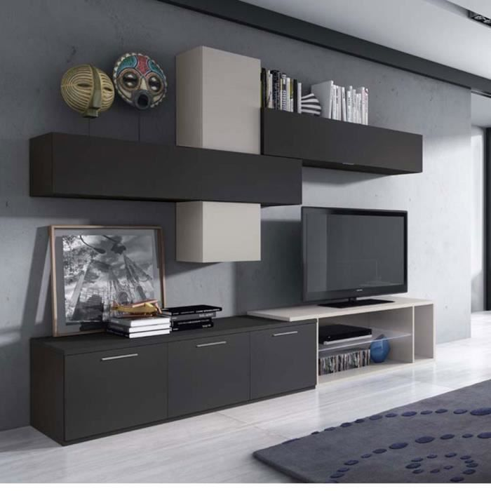 meuble mural tv design cam lia led atylia mati re m lamine couleurs anthracite beige achat. Black Bedroom Furniture Sets. Home Design Ideas