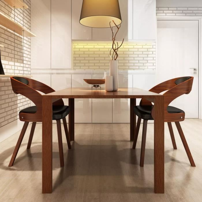 2 pcs chaise de salle a manger cadre en bois cuir synthetique 52 x 48 x 75 5 cm mee