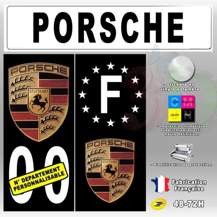 stickers plaque d 39 immatriculation 39 porsche 39 auto moto fond. Black Bedroom Furniture Sets. Home Design Ideas