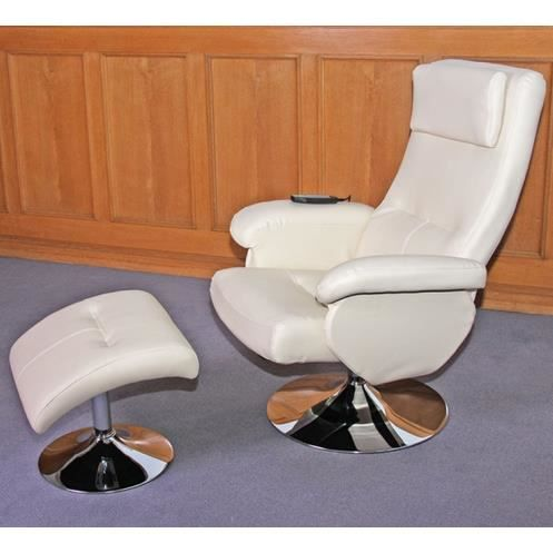 Fauteuil relaxation massage cuir cr me achat vente fauteuil cuir simili - Fauteuil relaxation massant ...