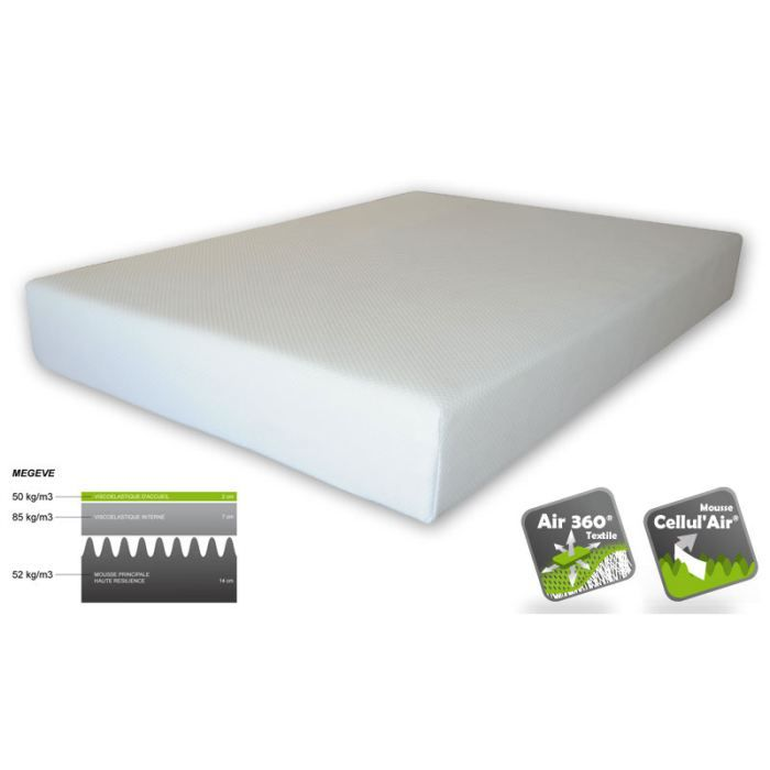 matelas 80x200 m moire de forme megeve achat vente. Black Bedroom Furniture Sets. Home Design Ideas