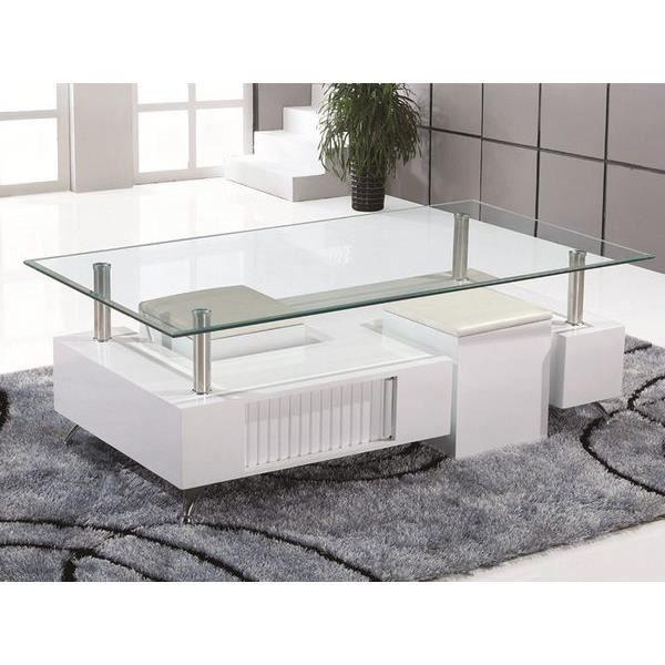 Table Basse Blanc Laqué Design Penelope L 130 X P 70 X H 42 Cm Blanc