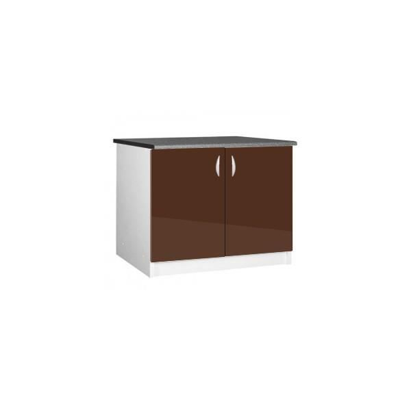 meuble cuisine bas 120 cm 2 portes oxane chocolat achat. Black Bedroom Furniture Sets. Home Design Ideas
