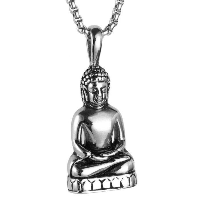 HIJONES Homme Acier Inoxydable Or//Argent Vintage Amitabha Bouddha Statue Pendentif Collier