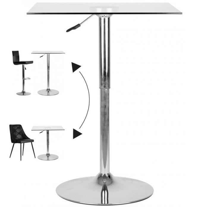 Table de bar ajustable carre design 70x70cm h63 90 achat for Achat table bar