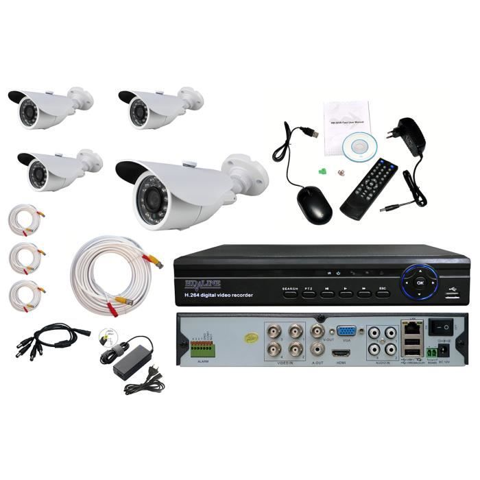 kit complet 4 cameras surveillance dvr 4 chaines achat vente cam ra de surveillance kit. Black Bedroom Furniture Sets. Home Design Ideas