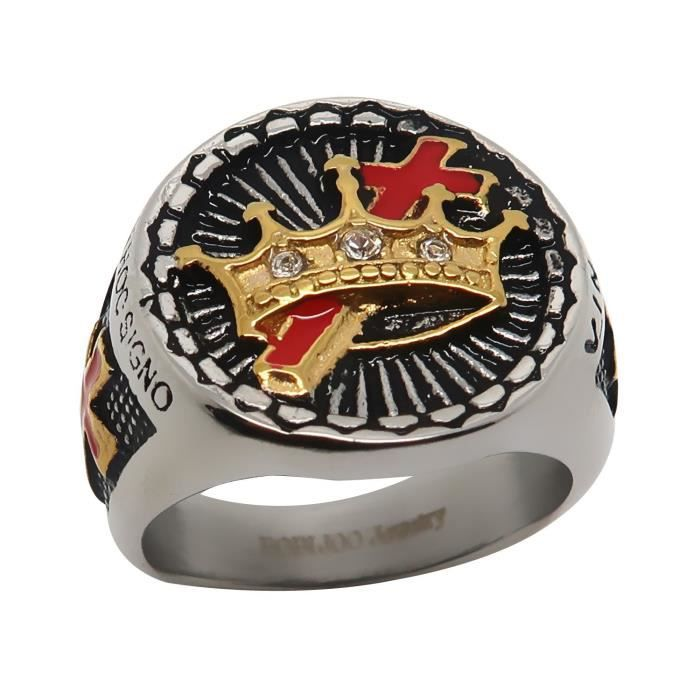 Chevali/ère Bague Homme Templier Ordre Jerusalem Acier BOBIJOO Jewelry