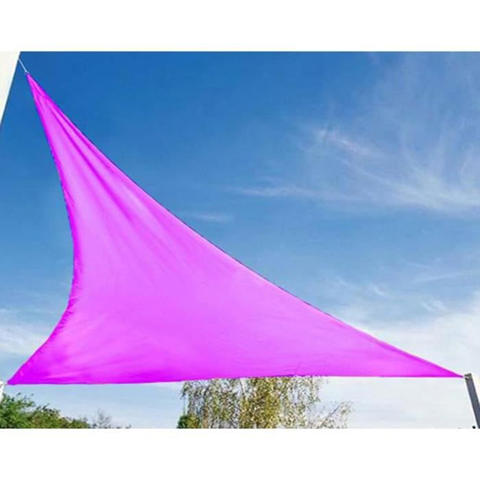 voile d 39 ombrage triangulaire fuschia en polyester 200g m anti uv 360 x 360 x 360 cm avec kit. Black Bedroom Furniture Sets. Home Design Ideas