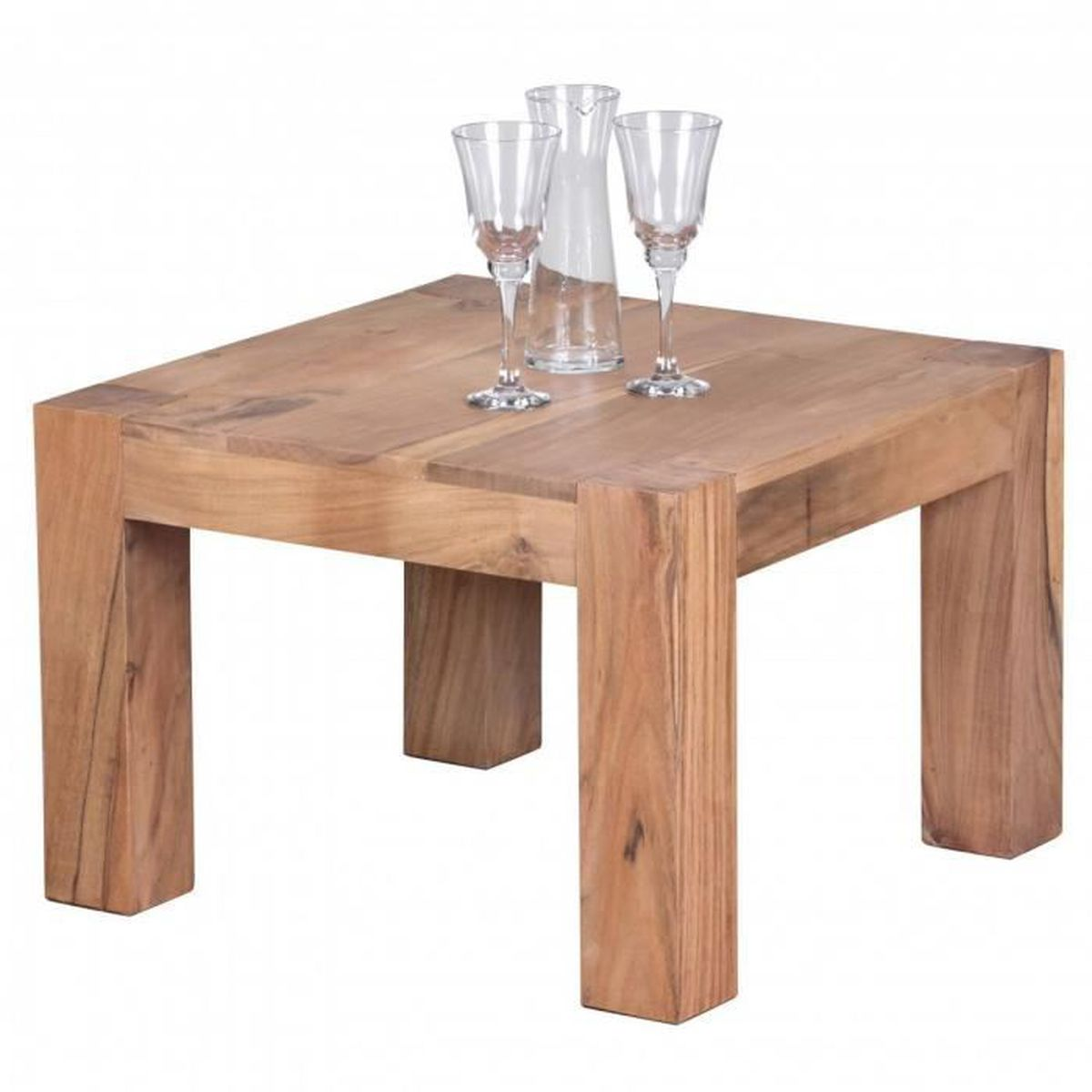 Table basse en bois massif acacia 60 cm de large table de for Meuble de 60 cm de large