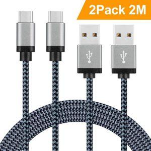 CÂBLE TÉLÉPHONE SUNDIX Câble USB Type-C Lot de 2 -2m Chargeur en N