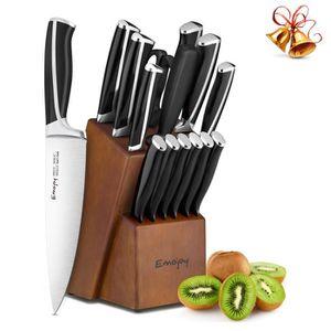 COUTEAU DE CUISINE  Set de 15 Couteau de Cuisines, Bloc de Couteaux Pr