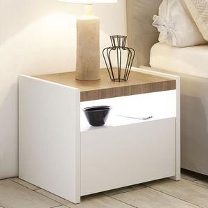 CHEVET Table de nuit moderne blanche et couleur noyer NER
